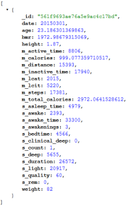 Sample JSON output from my API